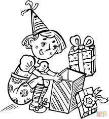 opening a present on her birthday coloring page free