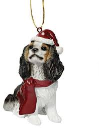 cavalier king charles spaniel with santa hat ornament