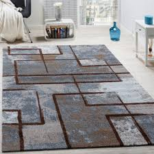 Schlafzimmer Creme Braun Designer Teppich Modern Kurzflor Abstrakt Gemälde Optik Braun