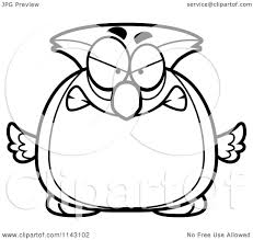 clipart owl black and white cartoon clipart of a black and white chubby mad owl vector