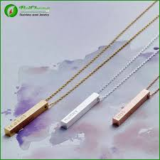 stainless steel name necklace images Personalized stainless steel bar name necklace for womens fashoin jpg