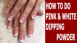 how to do pink and white dipping powder sns nails dipping
