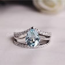promise ring engagement ring wedding ring set aquamarine ring set aquamarine engagement ring set