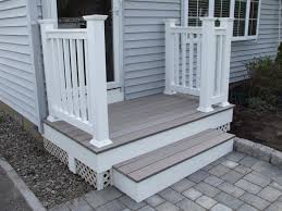 External Handrails Exterior Divine Small Front Porch Decoration Using White Wood