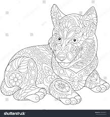 coloring page husky puppy dog symbol stock vector 534648487