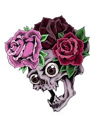 skull and roses by bluefish on deviantart