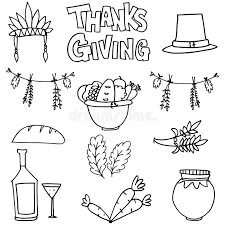 draw collection thanksgiving doodles stock vector image