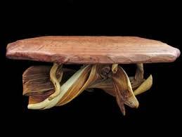 Custom Coffee Table by Juniper Wood Custom Coffee Table With Redwood Slab Top By Tim