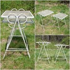 vintage set wrought iron wire mesh metal nesting tables patio