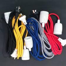 vintage industrial fabric lighting cord w ceramic socket 2k labware