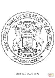 Michigans Flag Michigan State Seal Coloring Page Free Printable Coloring Pages