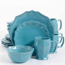 gibson elite celesse 16 dinnerware set turquoise walmart