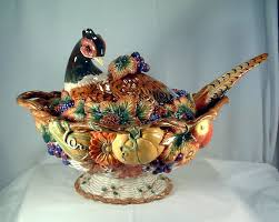 1997 fitz floyd thanksgiving pheasant soup tureen with