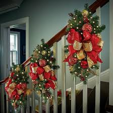 How To Decorate A Swag For Christmas Christmas Garland Staircase Decorating Ideas Improvements Blog