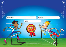 a5 personalised certificates with a sports day design