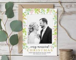 Newly Wed Christmas Card Married Holiday Card Etsy