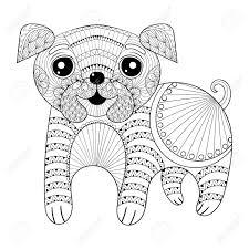 zentangle dessin chien pages à colorier antistress carte postale