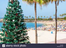 christmas tree on the beach at playa de amadores on gran canaria