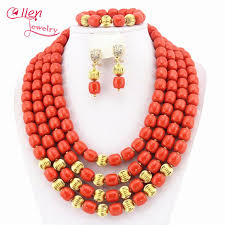 african wedding bead necklace images Orange african coral jewelry set coral beads necklace set nigerian jpg
