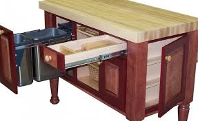 kitchen island with trash bin splendid butcher block kitchen island cart with pull out drawers