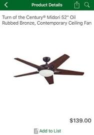 sam s club ceiling fans turn of the century midori 52 oil rubbed bronze ceiling fan at