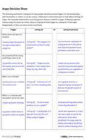 anger resources and cbt worksheets psychology tools