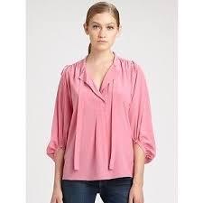 dvf blouse dvf diane furstenberg bairly louche neck tie top blouse peony