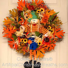 hello fall scarecrow wreath artificialchristmaswreaths