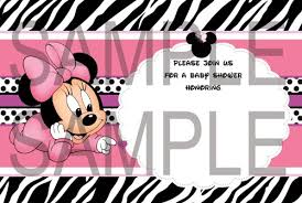 pink minnie mouse baby shower zebra invitations diy digital