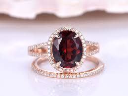 oval wedding rings gold wedding ring set garnet engagement ring 8x10mm oval cut