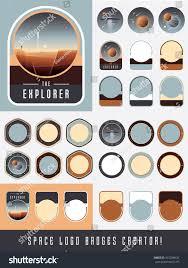 explorer space logo badges creator create stock vector 415238626