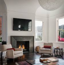 contemporary fireplace surrounds living room with glass tile