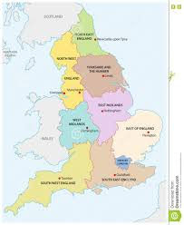 Map Of England by Outline Map Of The Nine Regions Of England Stock Vector Image