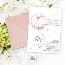 twinkle twinkle baby shower invitations baby shower invitation it s a girl watercolor moon