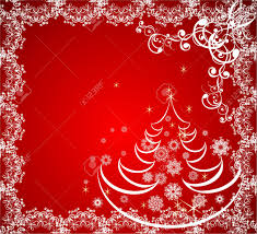 christmas tree with snowflake on red background abstract