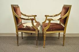 pair of gold giltwood 19th century french louis xvi style dining