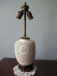 Antique Porcelain Table Lamps Vintage Porcelain Table Lamp White Lattice With Carved Wooden