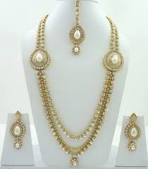 indian necklace set images White pearl cz gold tone bollywood long indian necklace set bridal jpg