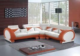 Orange Leather Sectional Sofa Orange And White Leather Sectional Sofa With Adjustable Headrest