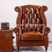 vintage wing high back armchair in tan leather buy high back