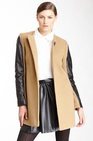 french connection buckle yoke leather wool blend coat by french