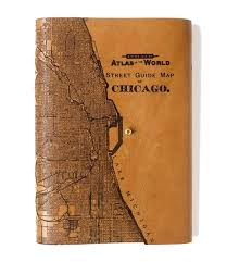 leather map chicago map journal tactile craftworks