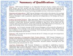 summary of qualifications of wm financial strategies independent