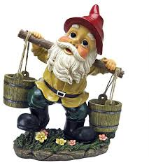 gnome with two buckets home garden gnome statue sculpture