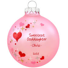 goddaughter christmas ornaments sweetest goddaughter pink heart swirl glass ornament