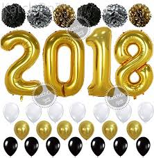 new year supplies gold 2018 balloons with pom poms new years