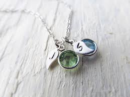 Mothers Necklace With Initials Personalized Mom Necklace With Birthstones And Initials Mom