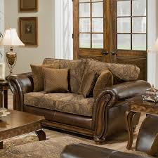 Leather Cushions For Sofas Simmons Zephyr Vintage Leather And Chenille Loveseat With Accent