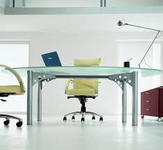 quadrifoglio oval glass meeting table office furniture scene