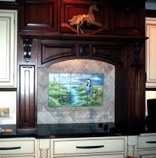 uncategorized kitchen backsplash mural on tumbled marble tile